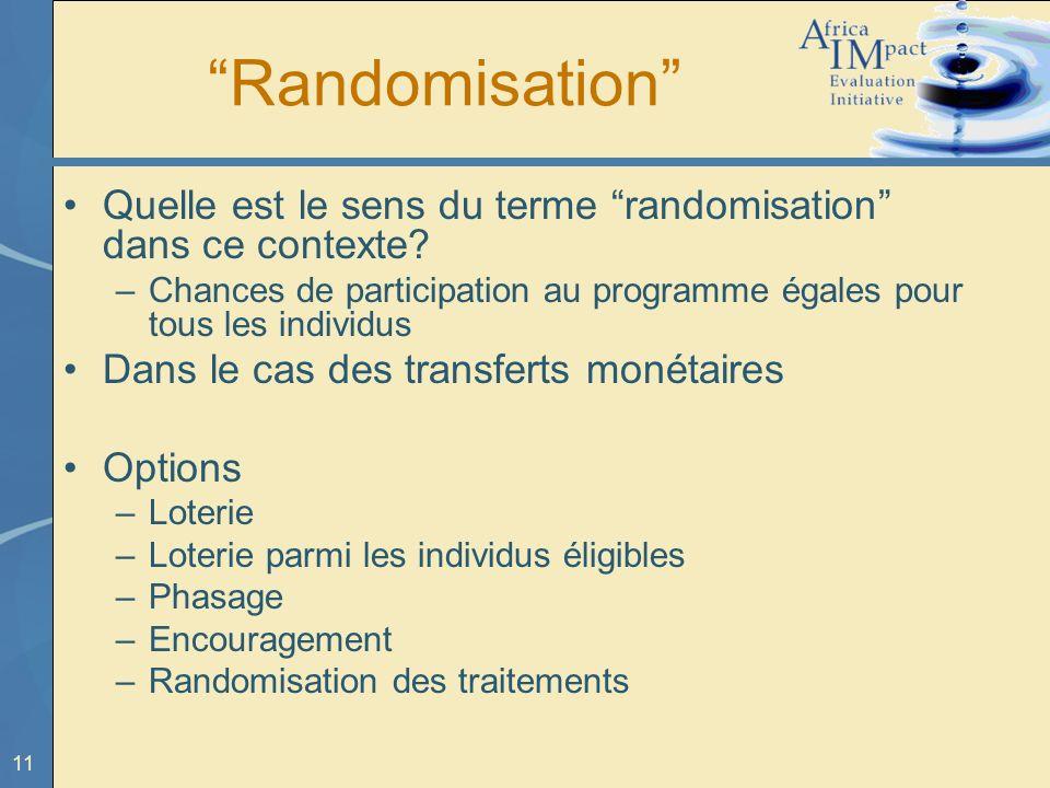 11 Randomisation Quelle est le sens du terme randomisation dans ce contexte? –Chances de participation au programme égales pour tous les individus Dan