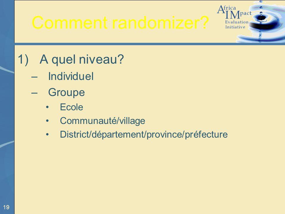 19 Comment randomizer? 1) A quel niveau? –Individuel –Groupe Ecole Communauté/village District/département/province/préfecture