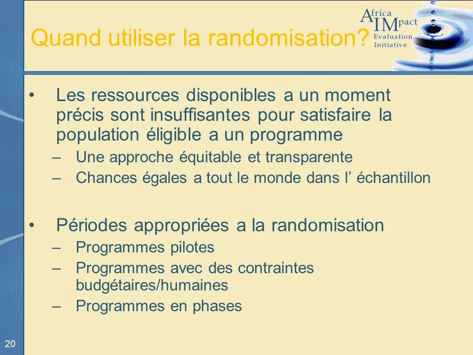 20 Quand utiliser la randomisation? Les ressources disponibles a un moment précis sont insuffisantes pour satisfaire la population éligible a un progr