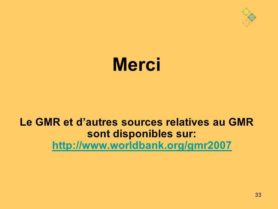 33 Merci Le GMR et dautres sources relatives au GMR sont disponibles sur: http://www.worldbank.org/gmr2007 http://www.worldbank.org/gmr2007