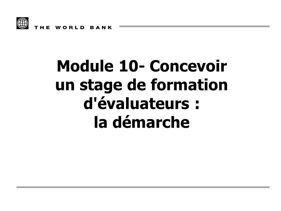 Module 10- Concevoir un stage de formation d'évaluateurs : la démarche
