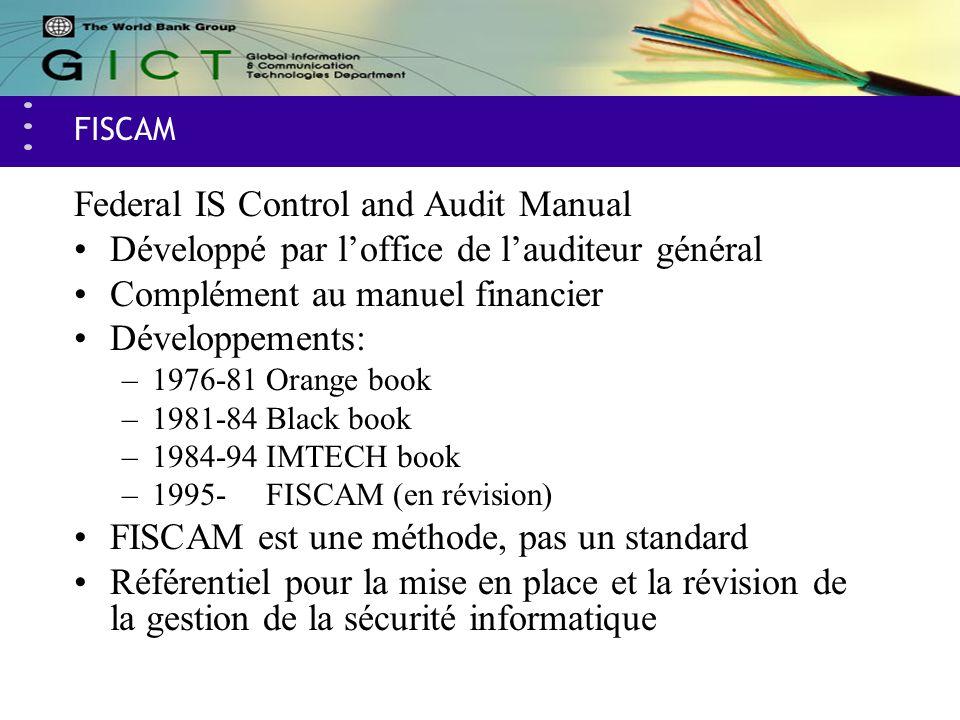 FISCAM Federal IS Control and Audit Manual Développé par loffice de lauditeur général Complément au manuel financier Développements: –1976-81Orange bo