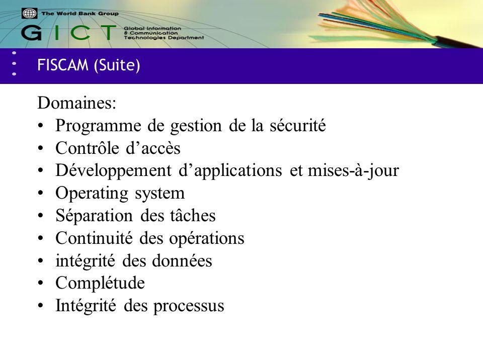 FISCAM (Suite) Domaines: Programme de gestion de la sécurité Contrôle daccès Développement dapplications et mises-à-jour Operating system Séparation d