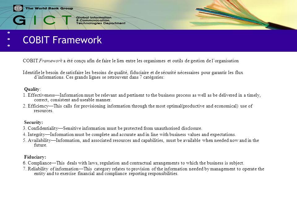 COBIT Framework COBIT Framework a été conçu afin de faire le lien entre les organismes et outils de gestion de lorganisation Identifie le besoin de sa