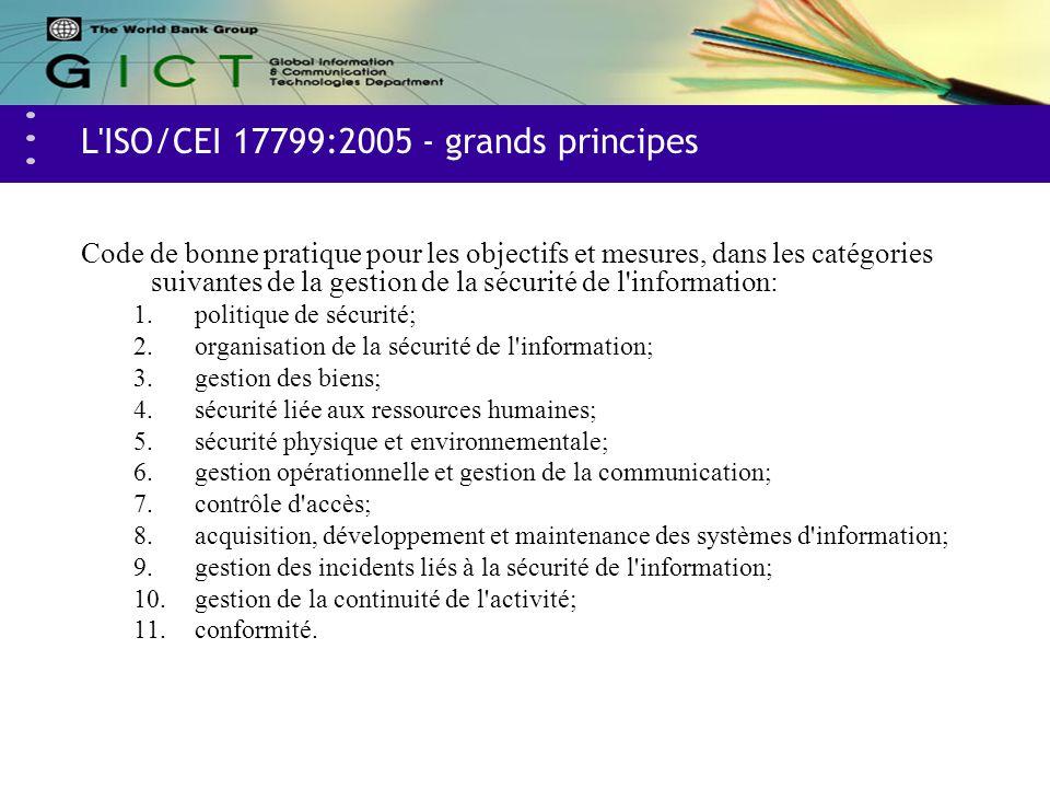 L'ISO/CEI 17799:2005 - grands principes Code de bonne pratique pour les objectifs et mesures, dans les catégories suivantes de la gestion de la sécuri