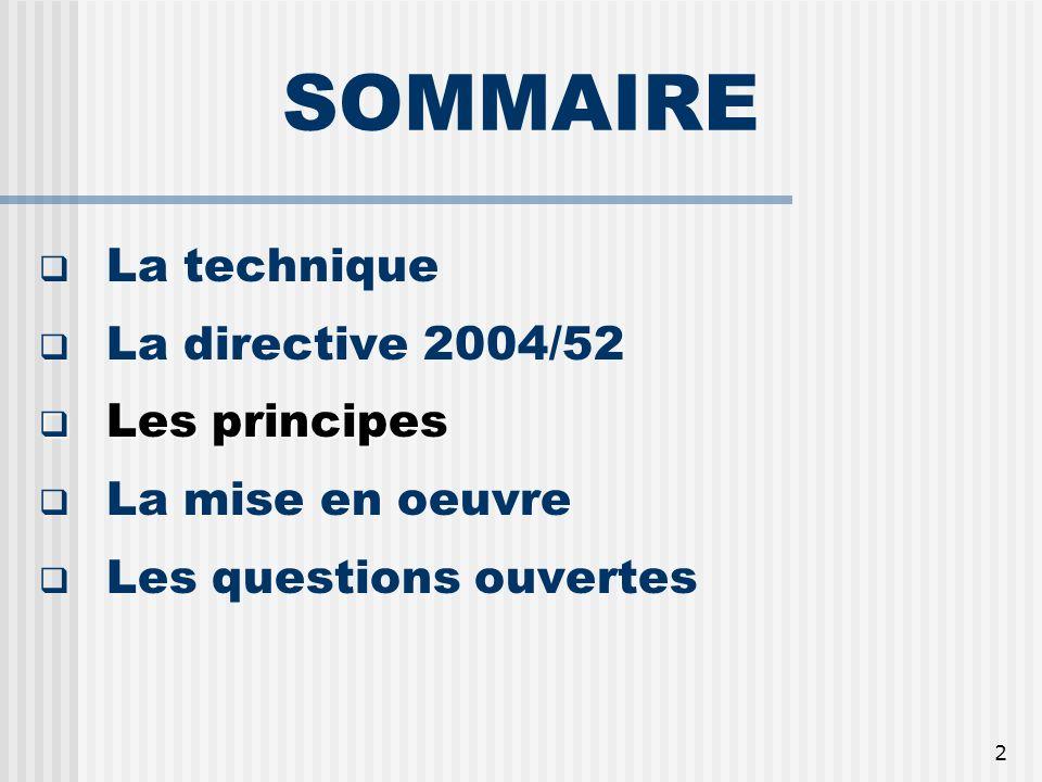 2 SOMMAIRE La technique La directive 2004/52 Les principes Les principes La mise en oeuvre Les questions ouvertes