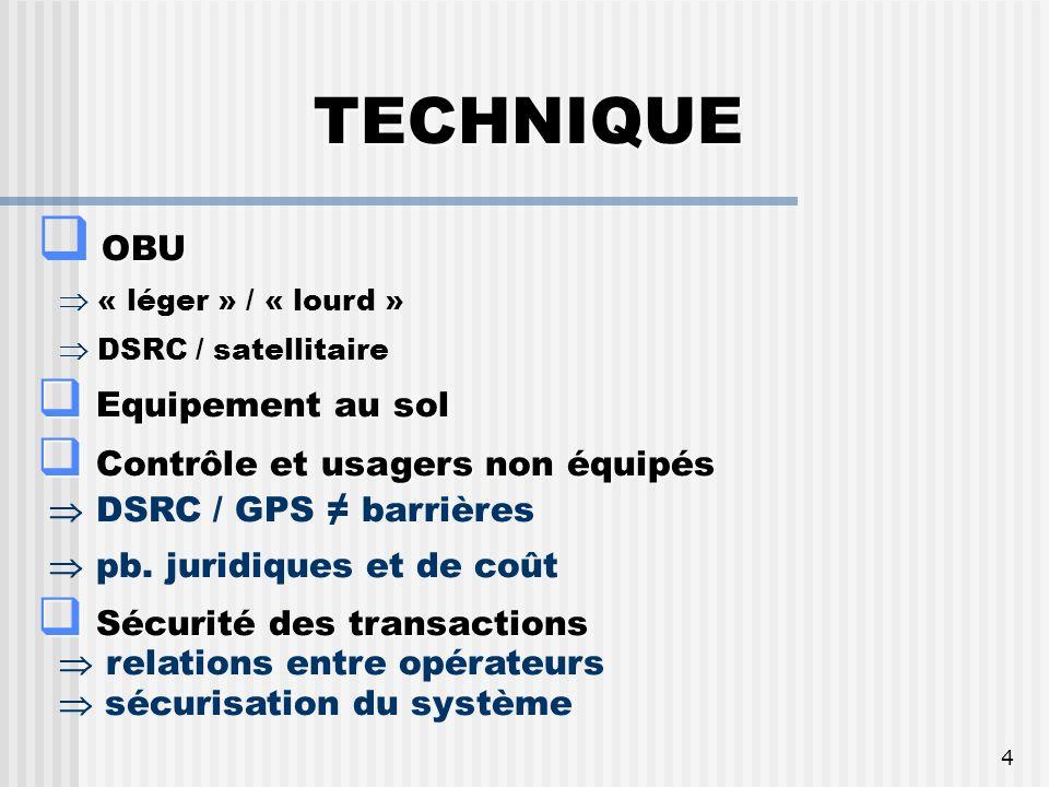 4 TECHNIQUE OBU « léger » / « lourd » DSRC / satellitaire Equipement au sol Equipement au sol Contrôle et usagers non équipés Contrôle et usagers non équipés DSRC / GPS barrières pb.