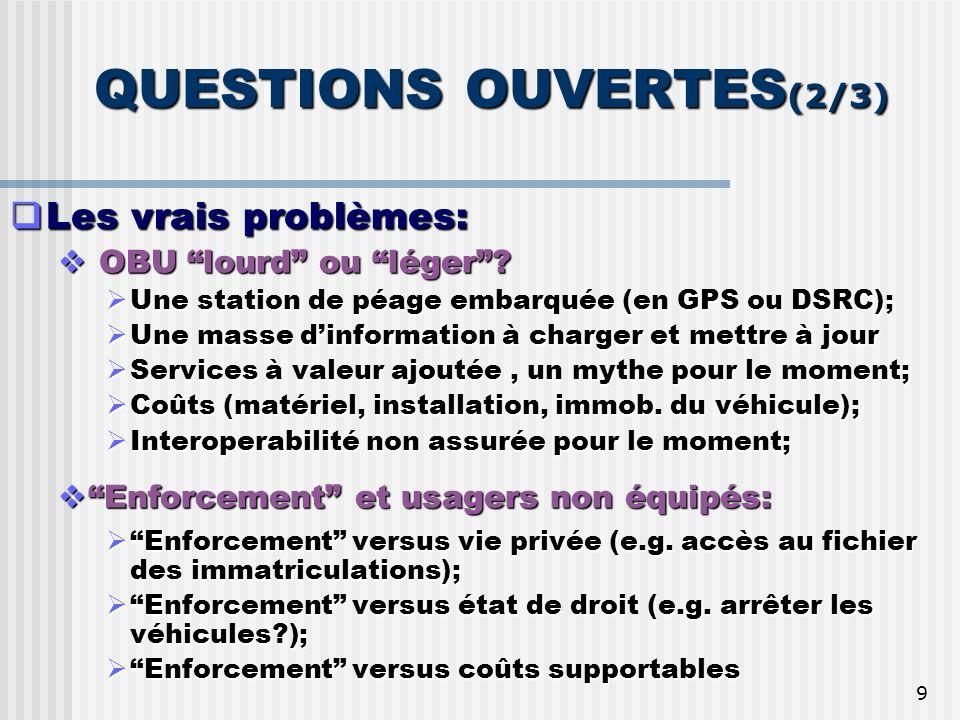 9 QUESTIONS OUVERTES (2/3) Les vrais problèmes: Les vrais problèmes: OBU lourd ou léger.