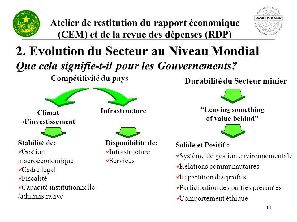 Atelier de restitution du rapport économique (CEM) et de la revue des dépenses (RDP) 11 2.