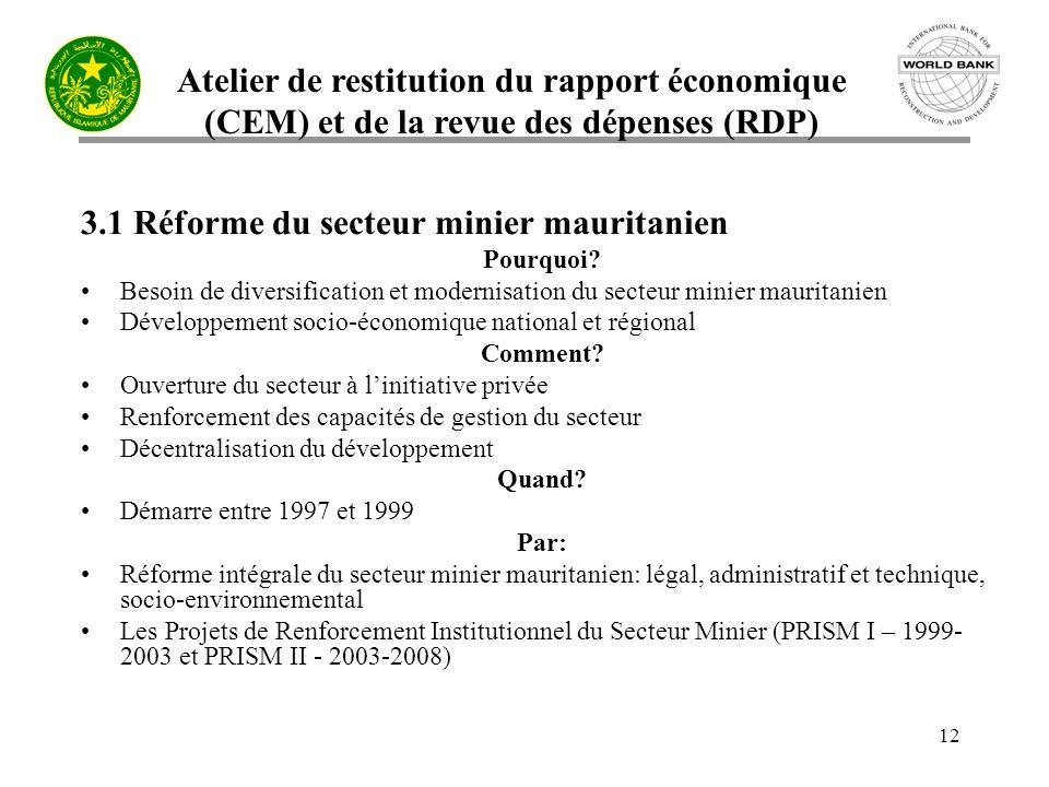 Atelier de restitution du rapport économique (CEM) et de la revue des dépenses (RDP) 12 3.1 Réforme du secteur minier mauritanien Pourquoi.