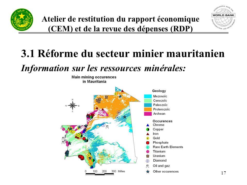 Atelier de restitution du rapport économique (CEM) et de la revue des dépenses (RDP) 17 3.1 Réforme du secteur minier mauritanien Information sur les ressources minérales: