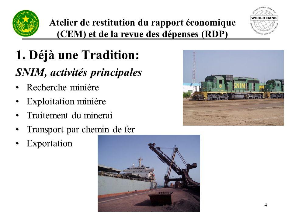 Atelier de restitution du rapport économique (CEM) et de la revue des dépenses (RDP) 15 3.1 Réforme du secteur minier mauritanien Cadre institutionnel: –Bureau du Cadastre Minier –Services des Affaires Environnementales et SIGE –Infrastructure Géo-scientifique et SIGM
