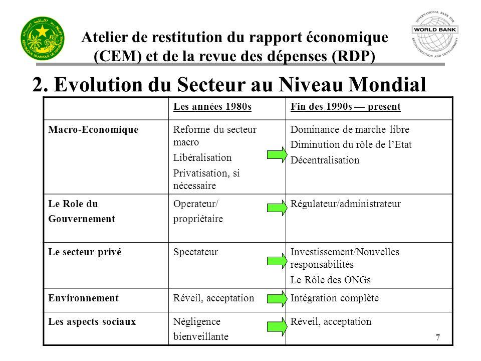 Atelier de restitution du rapport économique (CEM) et de la revue des dépenses (RDP) 8 2.