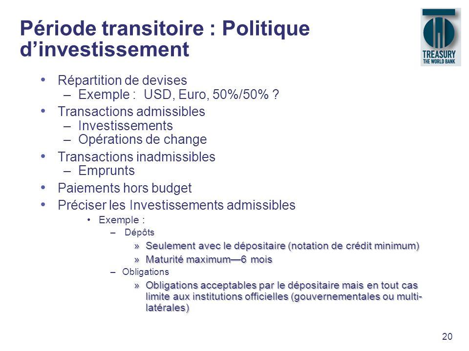 20 Période transitoire : Politique dinvestissement Répartition de devises –Exemple : USD, Euro, 50%/50% ? Transactions admissibles –Investissements –O