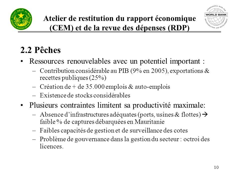 Atelier de restitution du rapport économique (CEM) et de la revue des dépenses (RDP) 10 2.2 Pêches Ressources renouvelables avec un potentiel importan