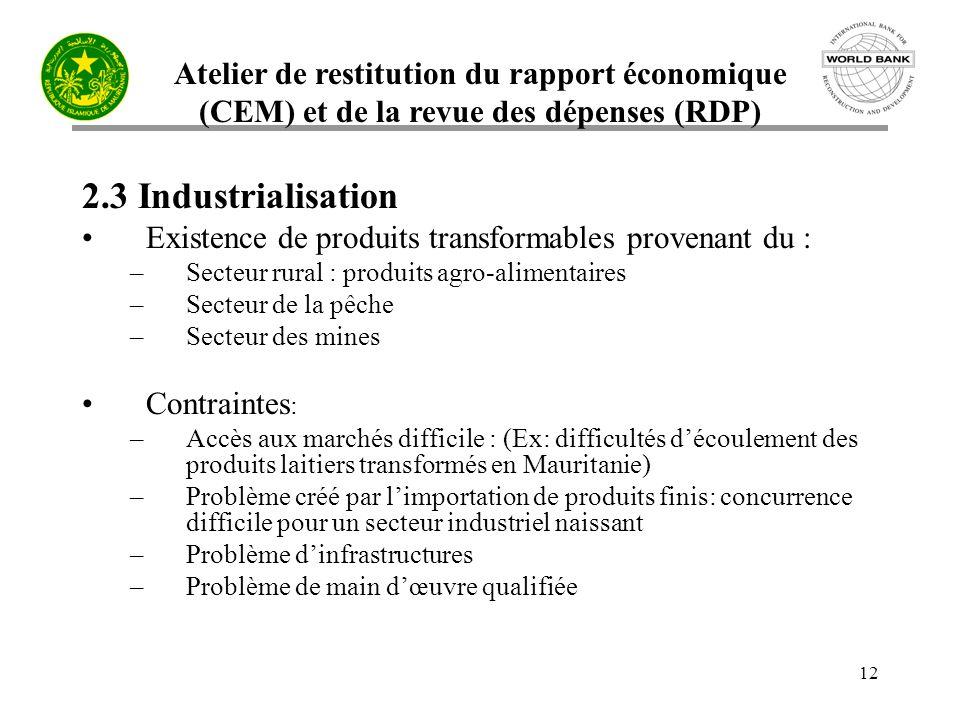 Atelier de restitution du rapport économique (CEM) et de la revue des dépenses (RDP) 12 2.3 Industrialisation Existence de produits transformables pro