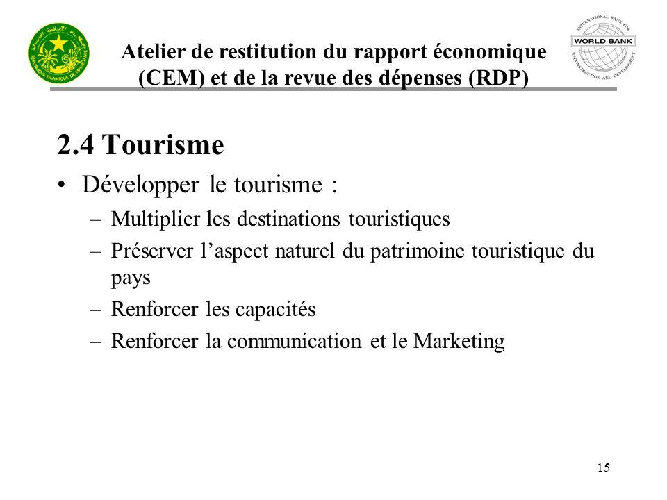 Atelier de restitution du rapport économique (CEM) et de la revue des dépenses (RDP) 15 2.4 Tourisme Développer le tourisme : –Multiplier les destinat