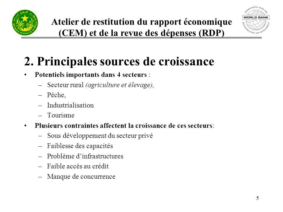 Atelier de restitution du rapport économique (CEM) et de la revue des dépenses (RDP) 5 2. Principales sources de croissance Potentiels importants dans