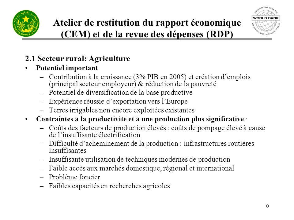 Atelier de restitution du rapport économique (CEM) et de la revue des dépenses (RDP) 6 2.1 Secteur rural: Agriculture Potentiel important –Contribution à la croissance (3% PIB en 2005) et création demplois (principal secteur employeur) & réduction de la pauvreté –Potentiel de diversification de la base productive –Expérience réussie dexportation vers lEurope –Terres irrigables non encore exploitées existantes Contraintes à la productivité et à une production plus significative : –Coûts des facteurs de production élevés : coûts de pompage élevé à cause de linsuffisante électrification –Difficulté dacheminement de la production : infrastructures routières insuffisantes –Insuffisante utilisation de techniques modernes de production –Faible accès aux marchés domestique, régional et international –Problème foncier –Faibles capacités en recherches agricoles