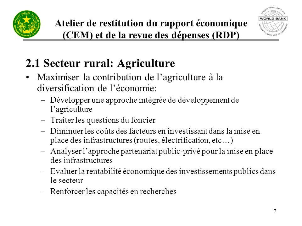 Atelier de restitution du rapport économique (CEM) et de la revue des dépenses (RDP) 7 2.1 Secteur rural: Agriculture Maximiser la contribution de lag