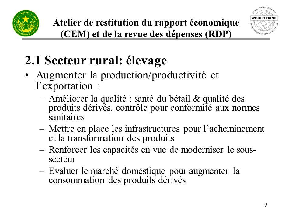 Atelier de restitution du rapport économique (CEM) et de la revue des dépenses (RDP) 9 2.1 Secteur rural: élevage Augmenter la production/productivité
