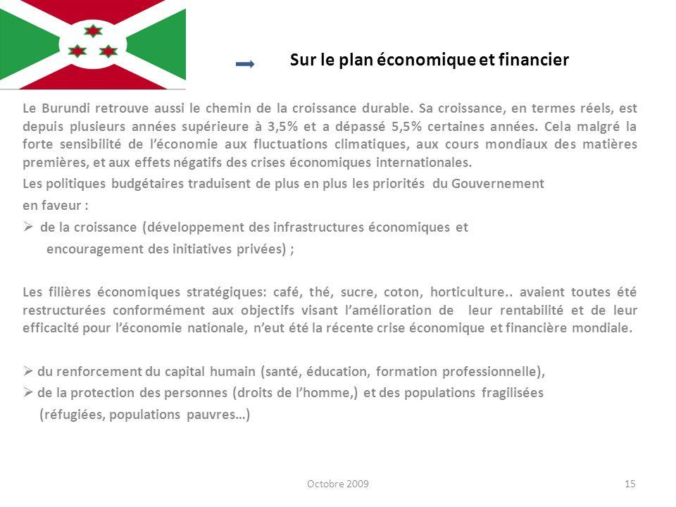Sur le plan économique et financier Le Burundi retrouve aussi le chemin de la croissance durable. Sa croissance, en termes réels, est depuis plusieurs