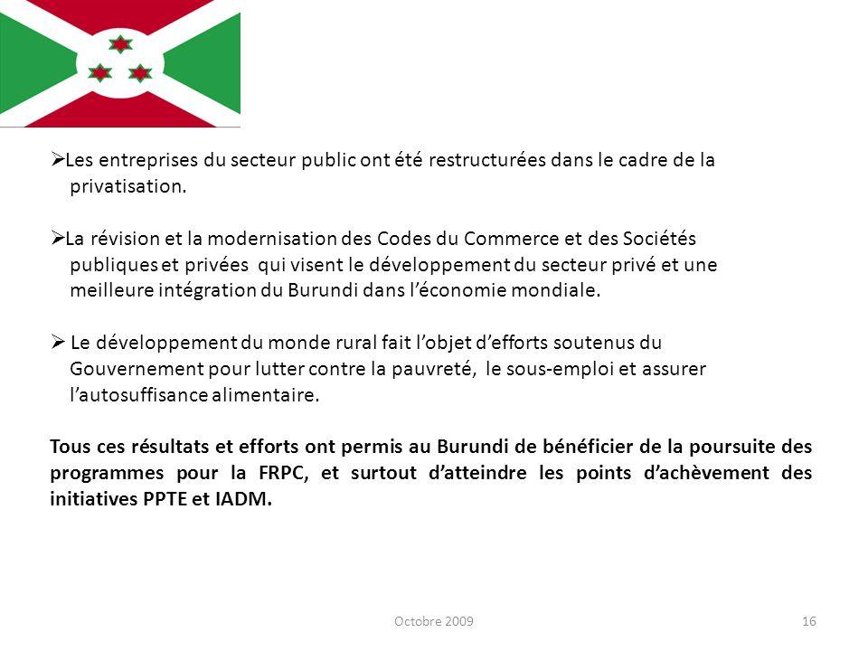 Octobre 200916 Les entreprises du secteur public ont été restructurées dans le cadre de la privatisation. La révision et la modernisation des Codes du