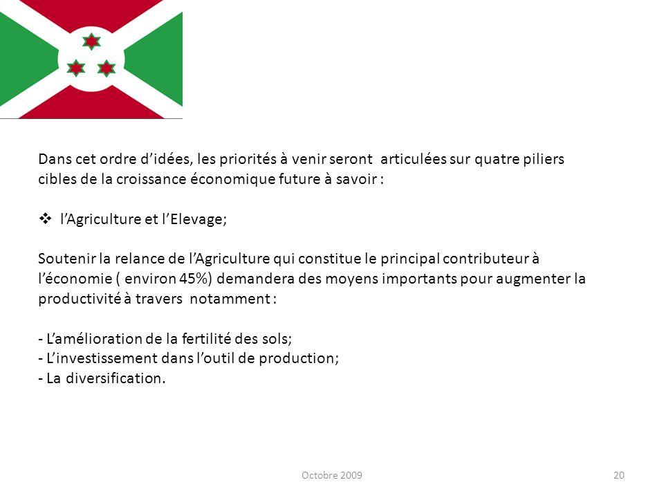 Octobre 200920 Dans cet ordre didées, les priorités à venir seront articulées sur quatre piliers cibles de la croissance économique future à savoir :