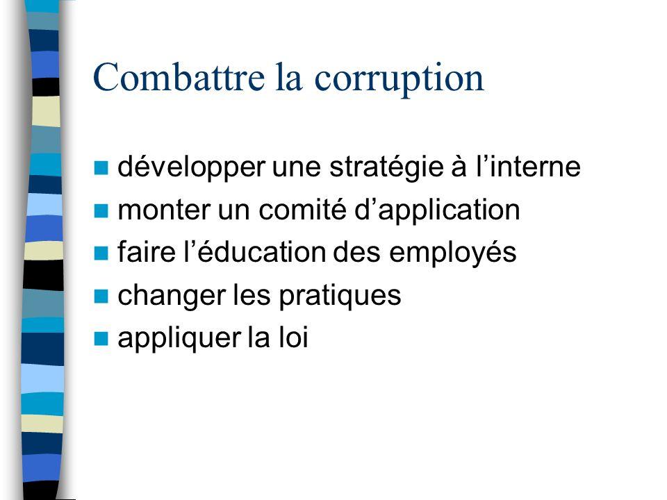 Combattre la corruption développer une stratégie à linterne monter un comité dapplication faire léducation des employés changer les pratiques appliquer la loi