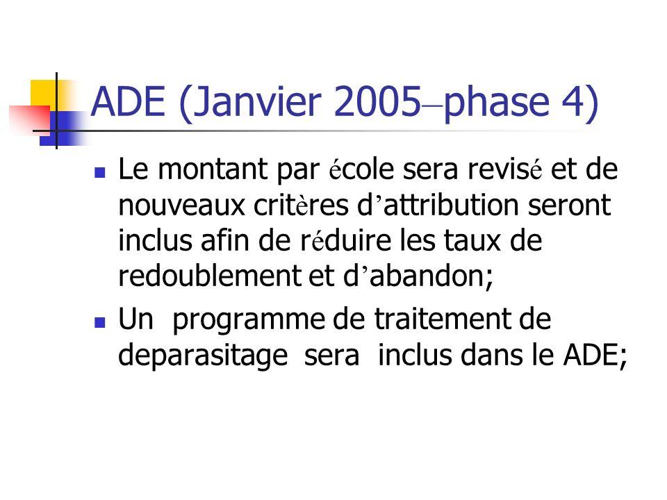 ADE (Janvier 2005 – phase 4) Le montant par é cole sera revis é et de nouveaux crit è res d attribution seront inclus afin de r é duire les taux de redoublement et d abandon; Un programme de traitement de deparasitage sera inclus dans le ADE;