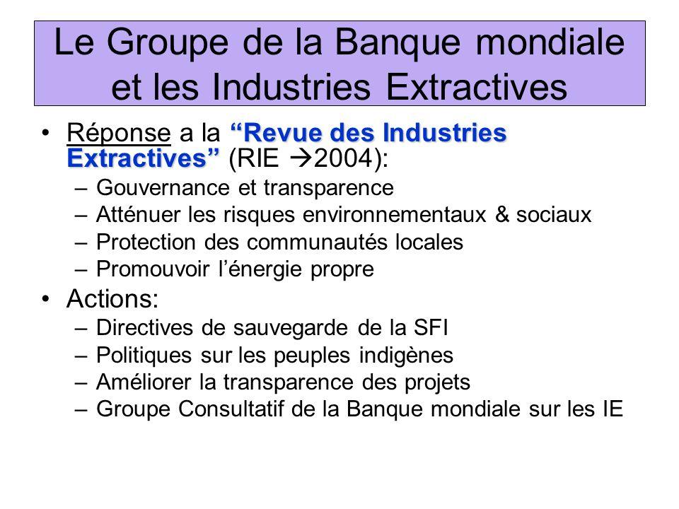 Le Groupe de la Banque mondiale et les Industries Extractives Revue des Industries ExtractivesRéponse a la Revue des Industries Extractives (RIE 2004)