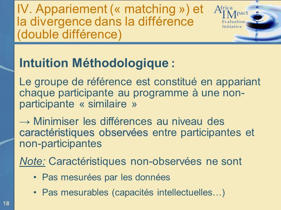18 IV. Appariement (« matching ») et la divergence dans la différence (double différence) Intuition Méthodologique : Le groupe de référence est consti