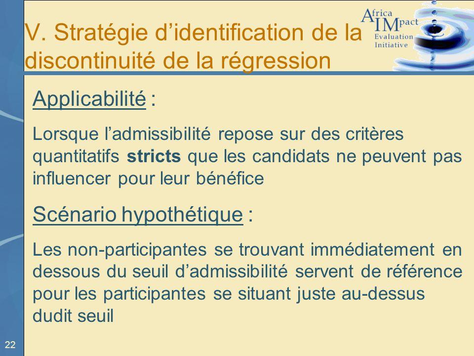 22 V. Stratégie didentification de la discontinuité de la régression Applicabilité : Lorsque ladmissibilité repose sur des critères quantitatifs stric
