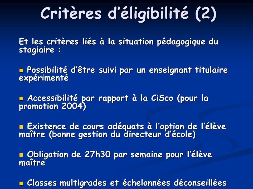 Critères déligibilité (2) Et les critères liés à la situation pédagogique du stagiaire : Possibilité dêtre suivi par un enseignant titulaire expérimenté Possibilité dêtre suivi par un enseignant titulaire expérimenté Accessibilité par rapport à la CiSco (pour la promotion 2004) Accessibilité par rapport à la CiSco (pour la promotion 2004) Existence de cours adéquats à loption de lélève maître (bonne gestion du directeur décole) Existence de cours adéquats à loption de lélève maître (bonne gestion du directeur décole) Obligation de 27h30 par semaine pour lélève maître Obligation de 27h30 par semaine pour lélève maître Classes multigrades et échelonnées déconseillées Classes multigrades et échelonnées déconseillées
