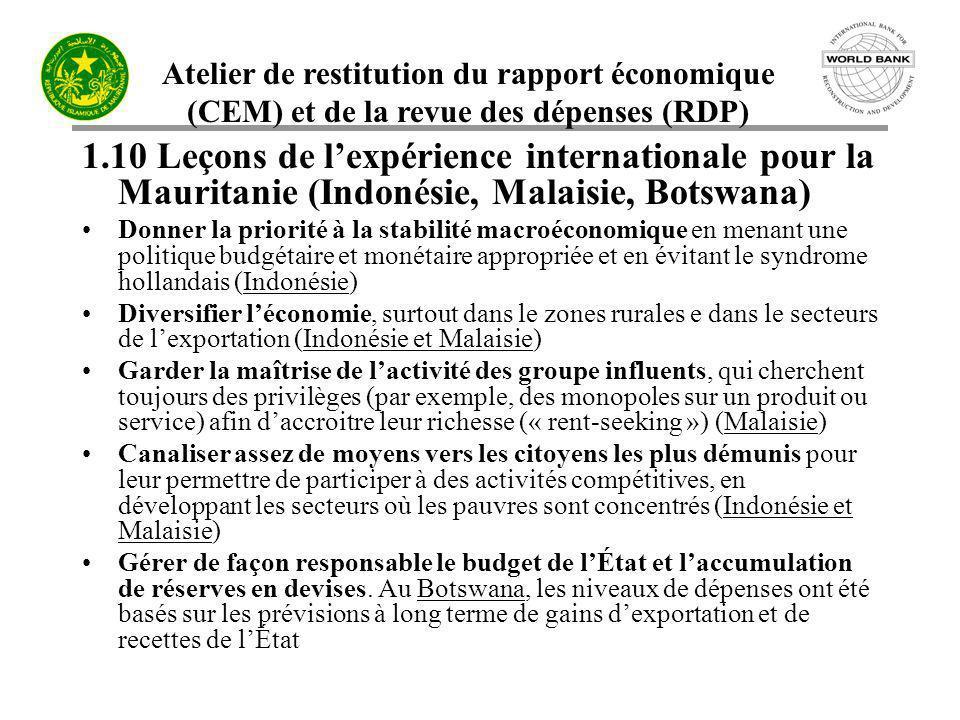 Atelier de restitution du rapport économique (CEM) et de la revue des dépenses (RDP) 1.10 Leçons de lexpérience internationale pour la Mauritanie (Ind