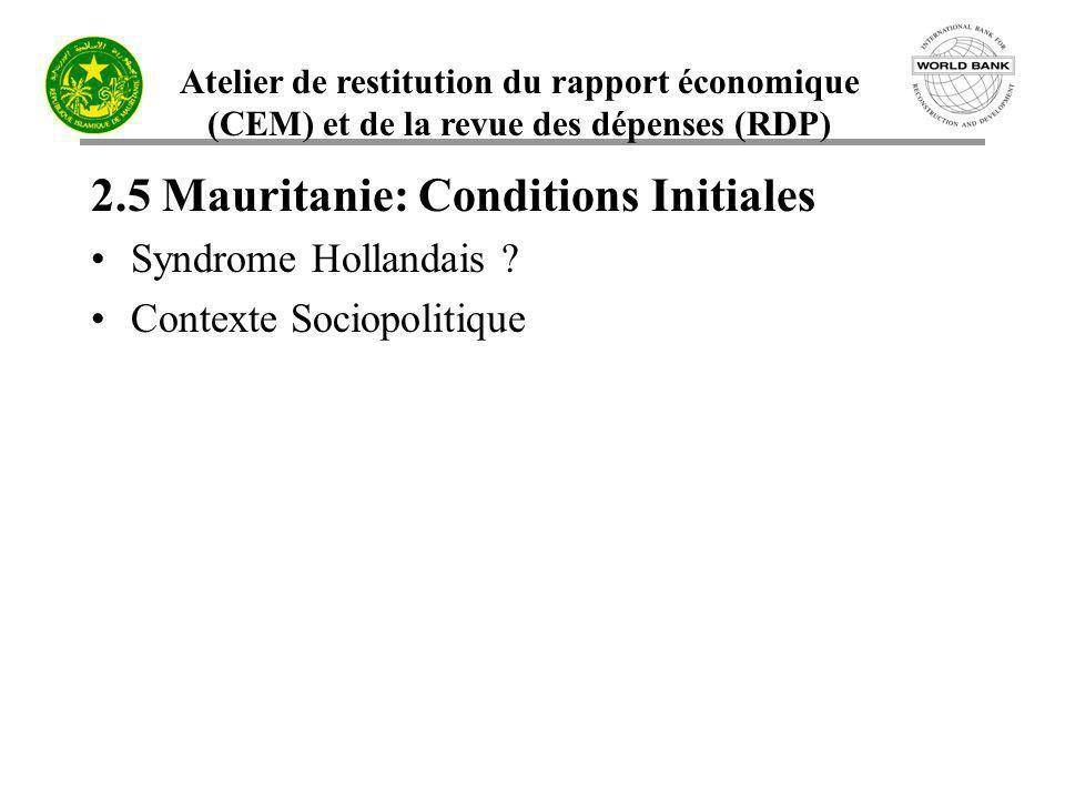 Atelier de restitution du rapport économique (CEM) et de la revue des dépenses (RDP) 2.5 Mauritanie: Conditions Initiales Syndrome Hollandais ? Contex