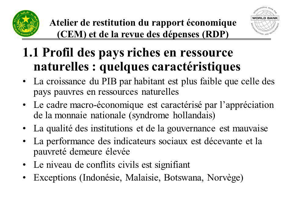 Atelier de restitution du rapport économique (CEM) et de la revue des dépenses (RDP) 1.1 Profil des pays riches en ressource naturelles : quelques car