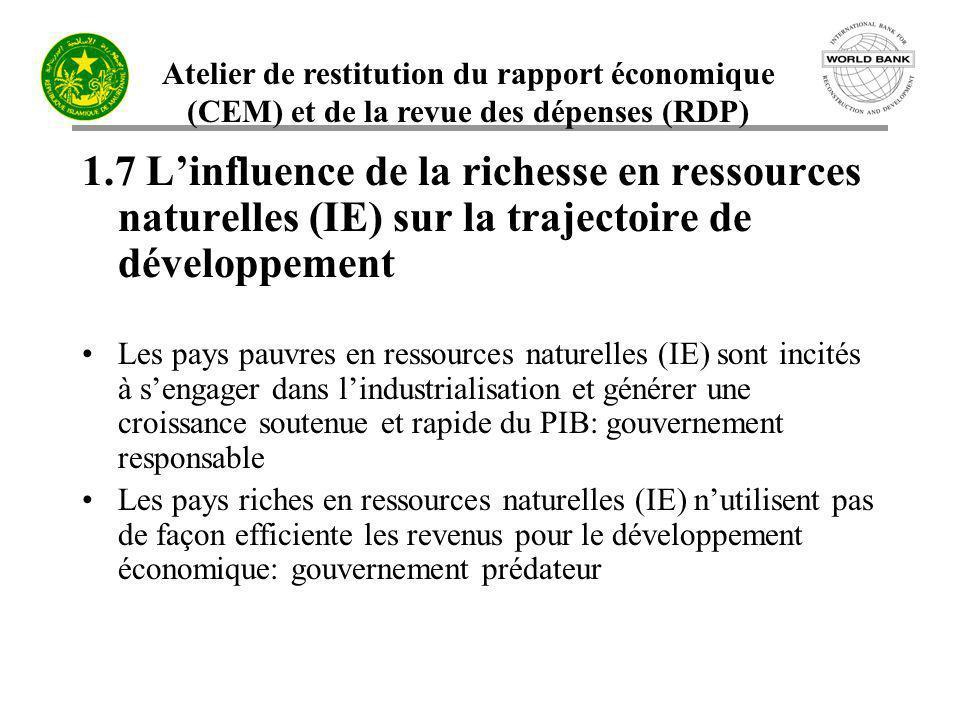 Atelier de restitution du rapport économique (CEM) et de la revue des dépenses (RDP) 1.7 Linfluence de la richesse en ressources naturelles (IE) sur l