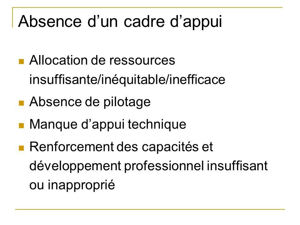Absence dun cadre dappui Allocation de ressources insuffisante/inéquitable/inefficace Absence de pilotage Manque dappui technique Renforcement des capacités et développement professionnel insuffisant ou inapproprié