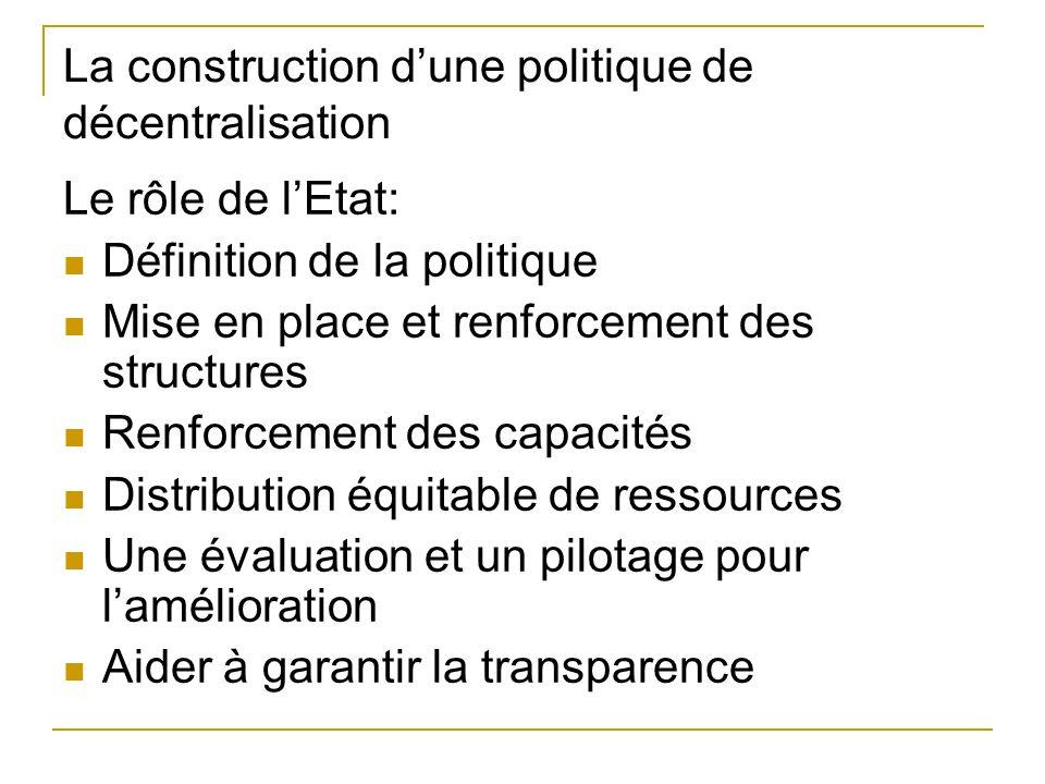 La construction dune politique de décentralisation Le rôle de lEtat: Définition de la politique Mise en place et renforcement des structures Renforcement des capacités Distribution équitable de ressources Une évaluation et un pilotage pour lamélioration Aider à garantir la transparence