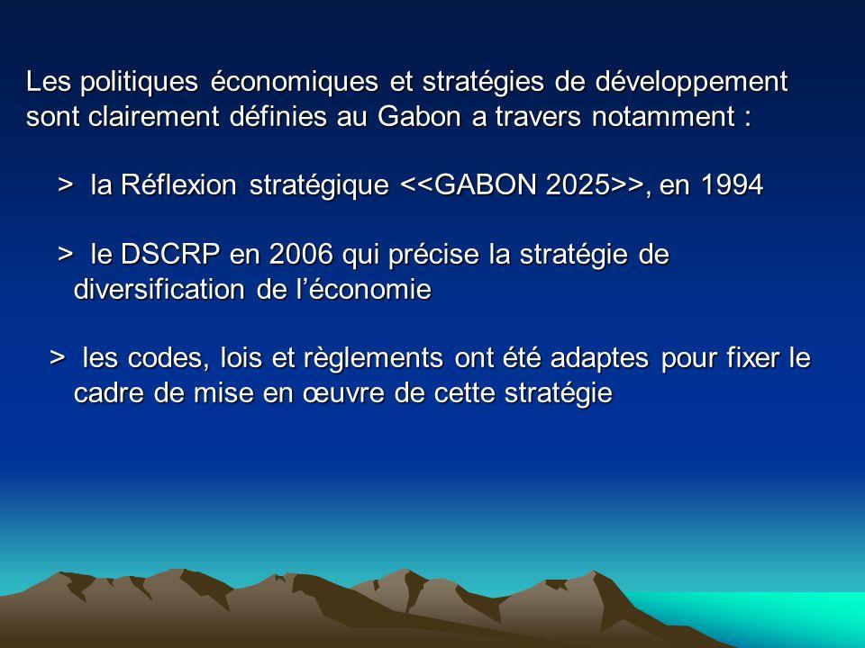 Les politiques économiques et stratégies de développement sont clairement définies au Gabon a travers notamment : > la Réflexion stratégique >, en 199