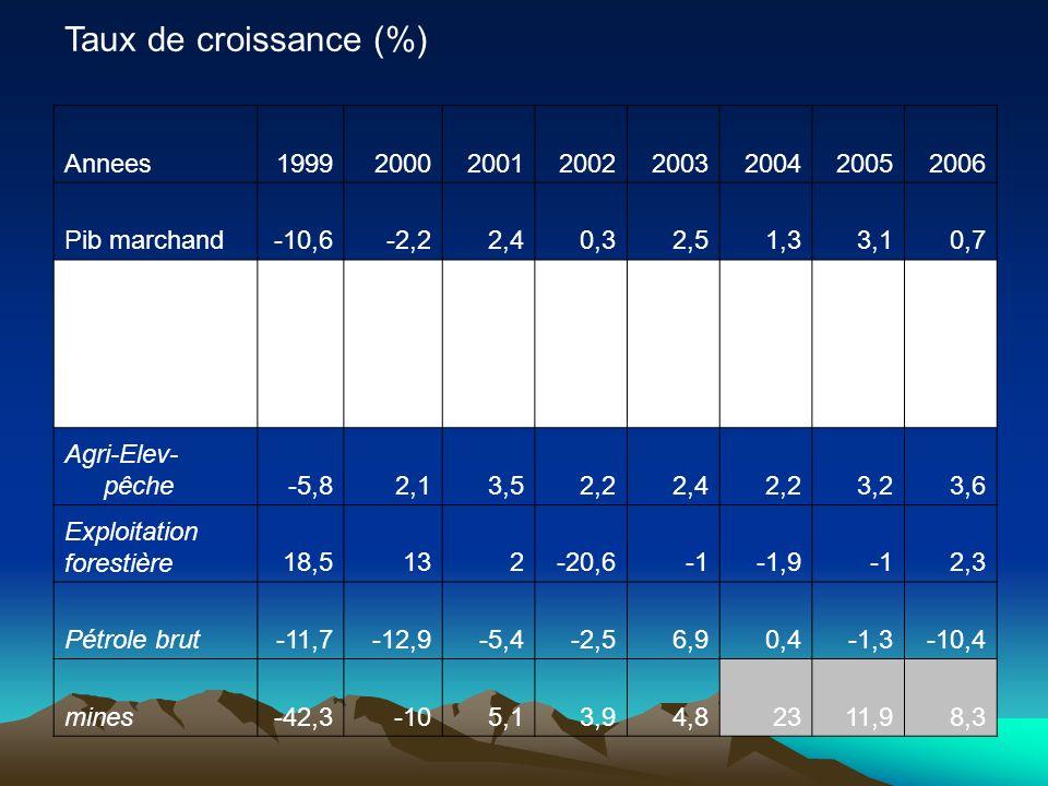 Taux de croissance (%) Annees19992000200120022003200420052006 Pib marchand-10,6-2,22,40,32,51,33,10,7 Secteur primaire -11,3-11,3-8,9-3-2,85,41,60,3-5