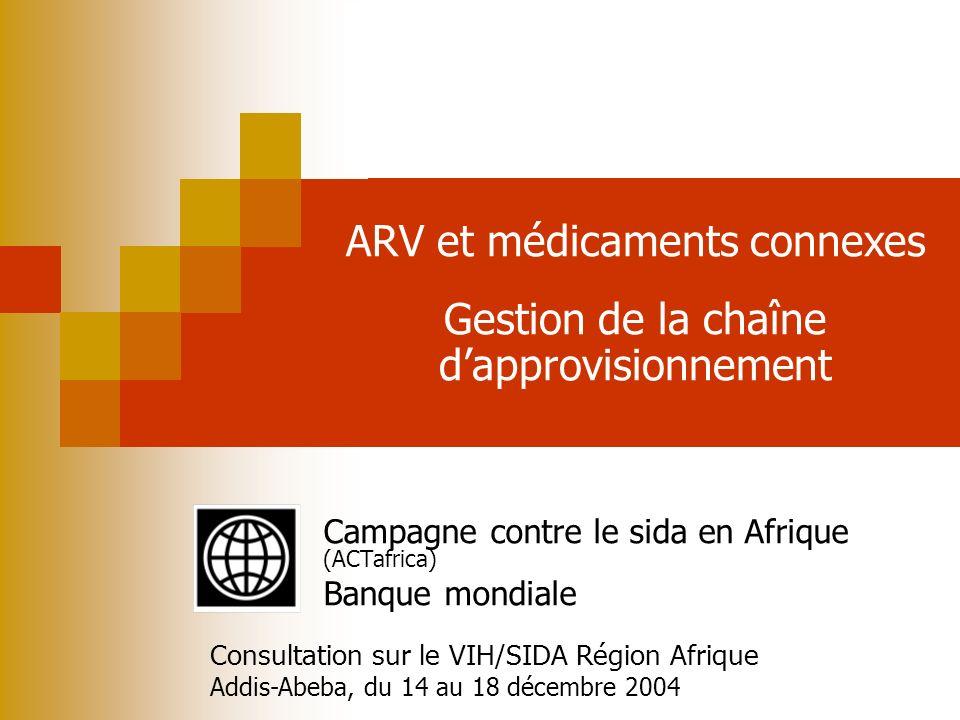 WORLD HEALTH ORGANIZATION BANQUE MONDIALE ARV et médicaments connexes Gestion de la chaîne dapprovisionnement Campagne contre le sida en Afrique (ACTa