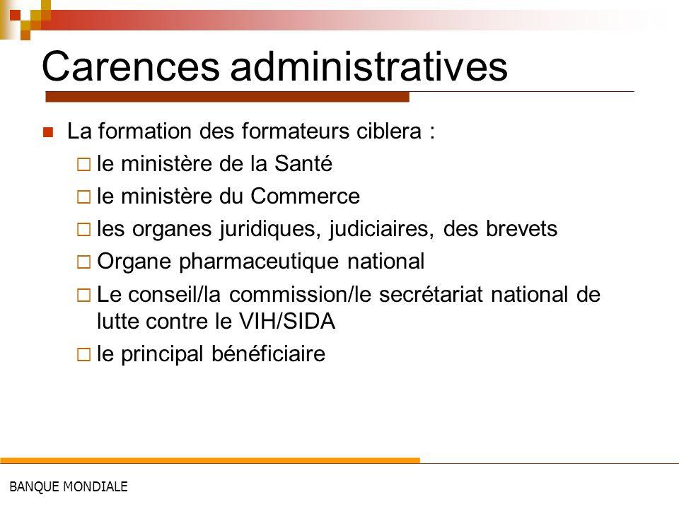 BANQUE MONDIALE Carences administratives La formation des formateurs ciblera : le ministère de la Santé le ministère du Commerce les organes juridique