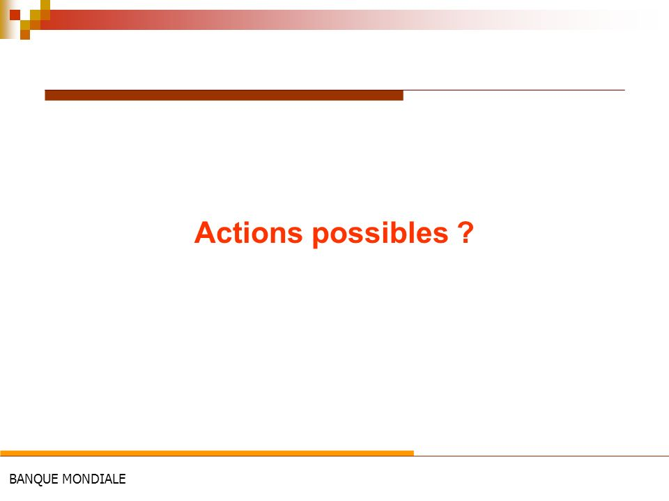 BANQUE MONDIALE Actions possibles ?