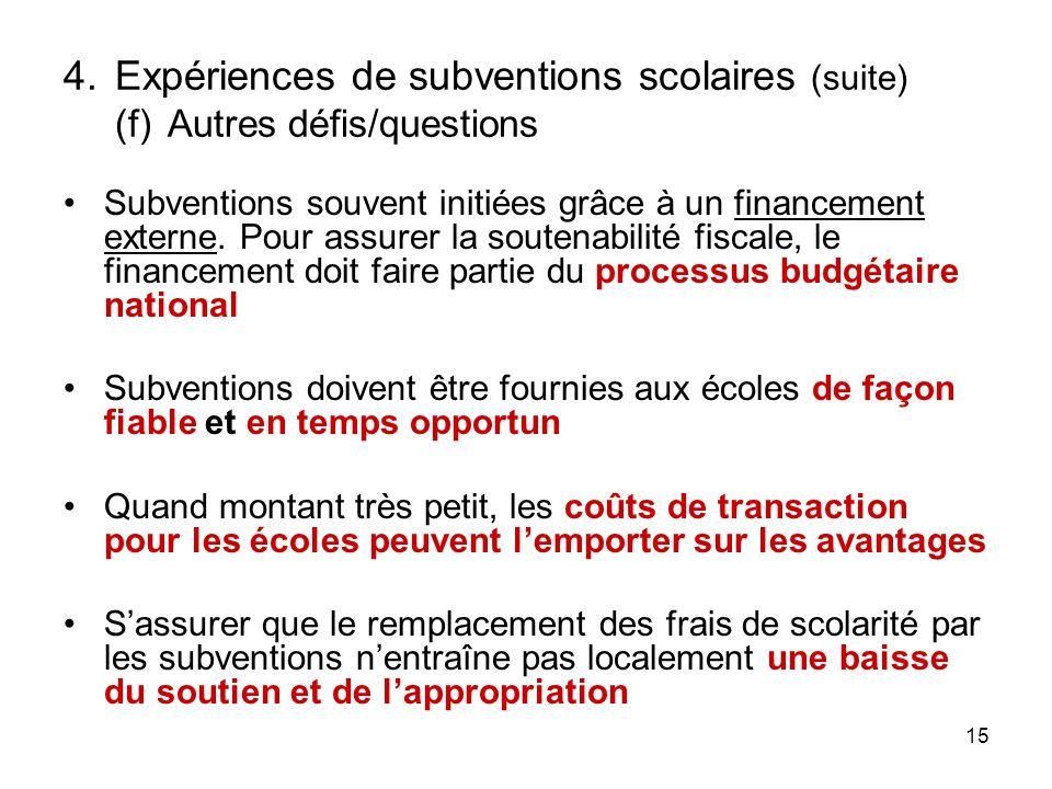15 4.Expériences de subventions scolaires (suite) (f)Autres défis/questions Subventions souvent initiées grâce à un financement externe.