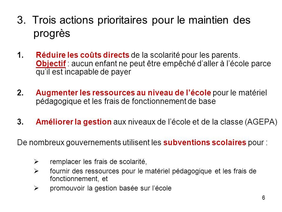 6 3. Trois actions prioritaires pour le maintien des progrès 1.Réduire les coûts directs de la scolarité pour les parents. Objectif : aucun enfant ne