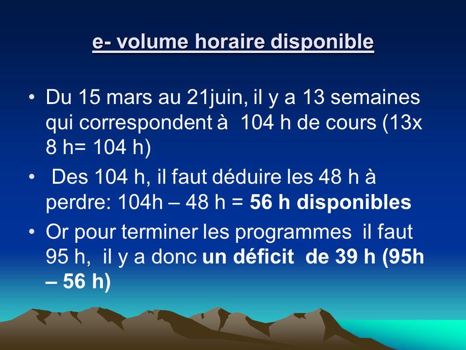 e- volume horaire disponible Du 15 mars au 21juin, il y a 13 semaines qui correspondent à 104 h de cours (13x 8 h= 104 h) Des 104 h, il faut déduire l