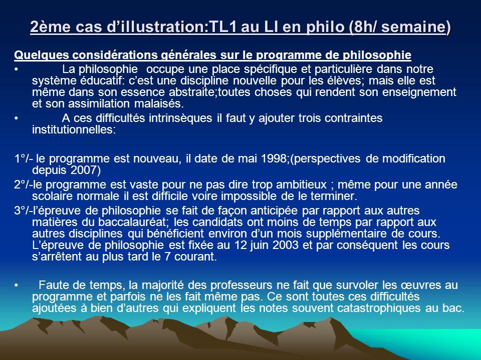 2ème cas dillustration:TL1 au LI en philo (8h/ semaine) Quelques considérations générales sur le programme de philosophie La philosophie occupe une pl