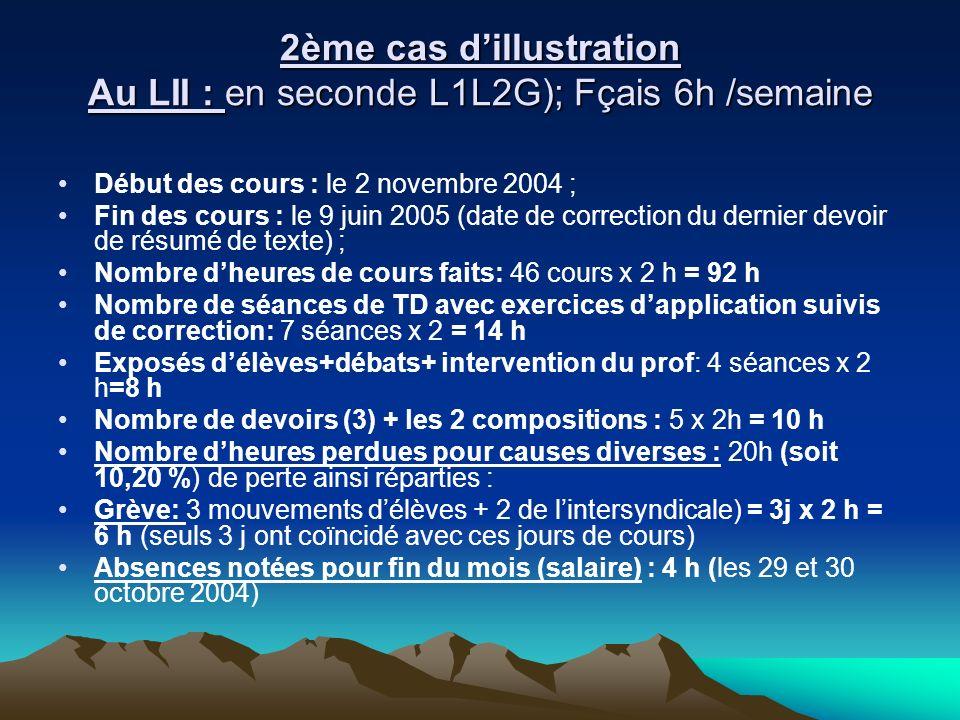 2ème cas dillustration Au LII : en seconde L1L2G); Fçais 6h /semaine Début des cours : le 2 novembre 2004 ; Fin des cours : le 9 juin 2005 (date de co